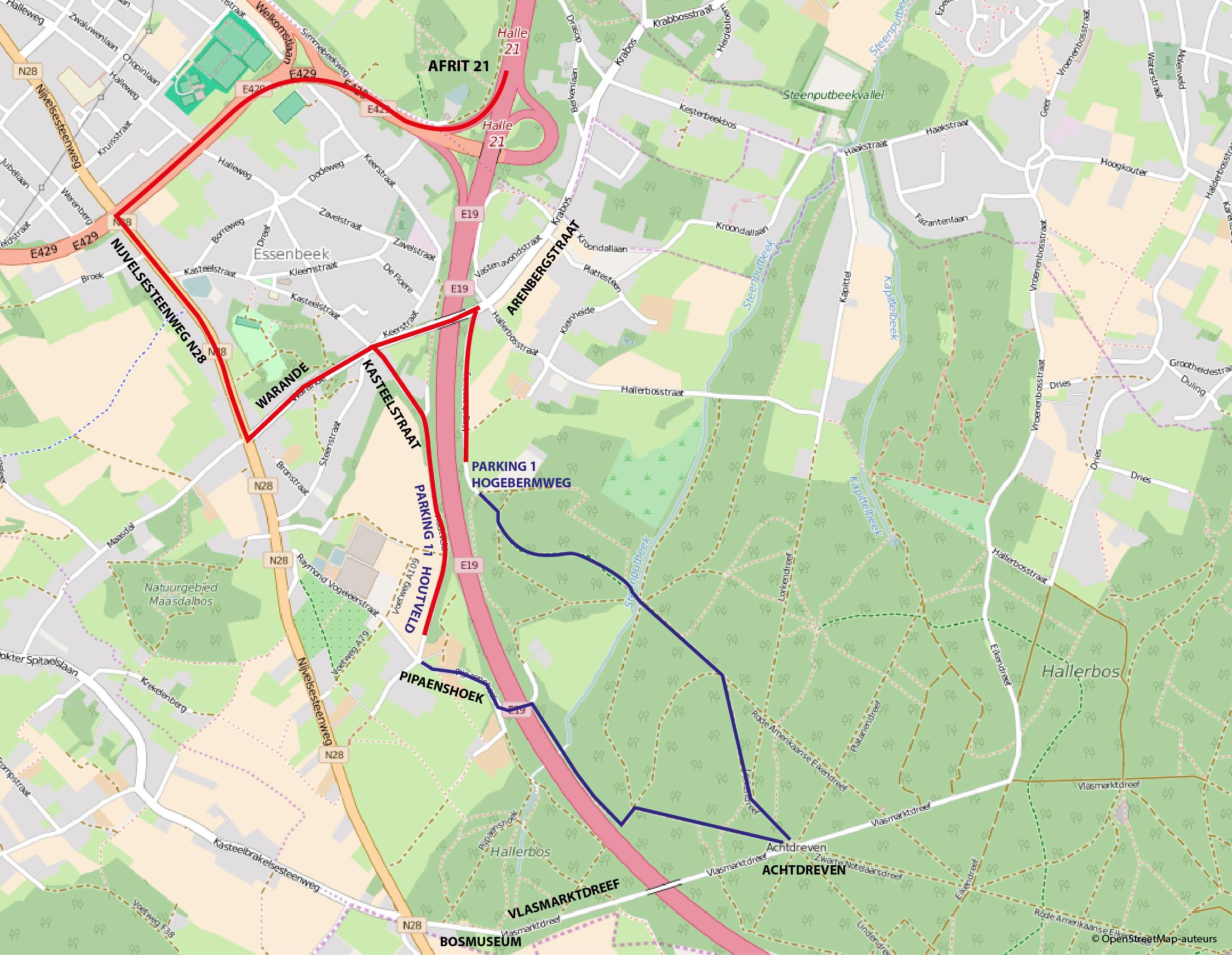 kaart wegbeschrijving hallerbos hogebermweg houtveld